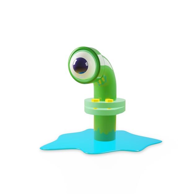Cartoon monster in een rioolbuis in glanzend groen, ziet er met één oog uit, als in een telescoop van een onderzeeër. een blauwe plas water verspreidde zich rond de pijp. 3d-rendering isoleren op een witte muur. Premium Foto
