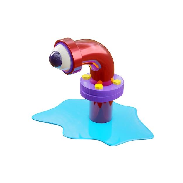 Cartoon monster in een rioolbuis in glanzend rood, ziet er met één oog uit, zoals in een telescoop van een onderzeeër. een blauwe plas water verspreidde zich rond de pijp. 3d-rendering isoleren op een witte muur. Premium Foto