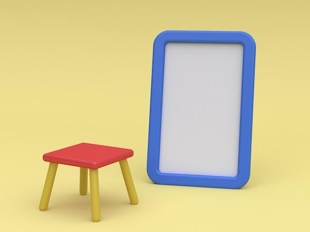 Cartoon wit bord en stoel 3d-rendering kind concept Premium Foto