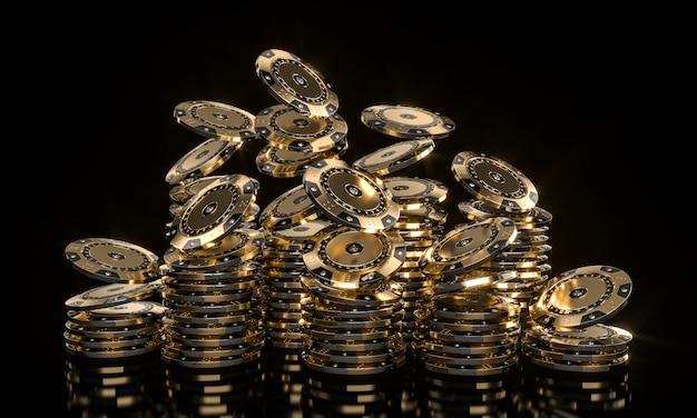 Casinofiches gemaakt van goud en gezette diamanten Premium Foto