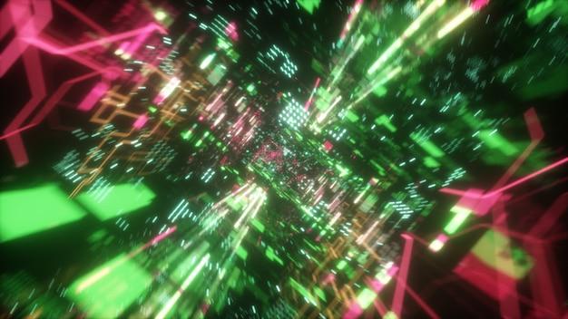 Chaotische technologische futuristische ruimtetunnel Premium Foto