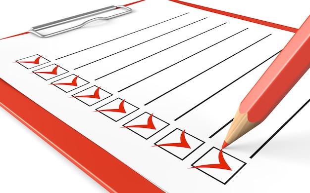 Checklist. rood klembord en potlood. Premium Foto