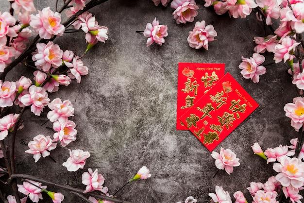 Chinees nieuw jaarconcept met copyspace Gratis Foto