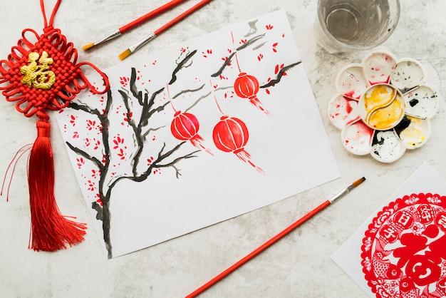 Chinees nieuw jaarconcept met document Gratis Foto