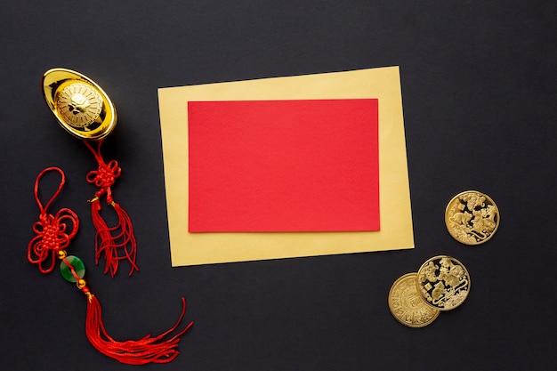 Chinees nieuwjaarskaartmodel met hangers Gratis Foto