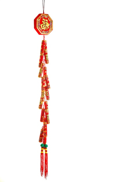 Chinees rood voetzoekers op witte achtergrond Premium Foto