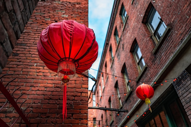 Chinese lantaarns in fan tan alley, chinatown, victoria, bc canada Gratis Foto