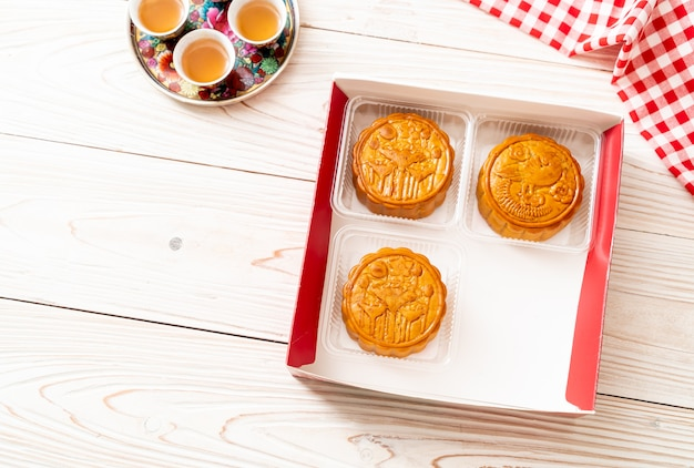 Chinese maancake voor Chinees mid-autumn festival Premium Foto