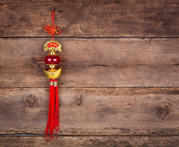 Chinese new year decoratie op houten muur Gratis Foto
