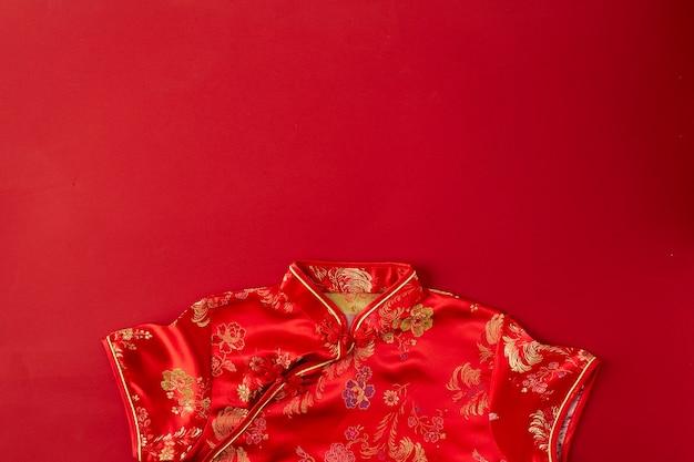 Chinese nieuwe jaar rode achtergrond. plat leggen Premium Foto