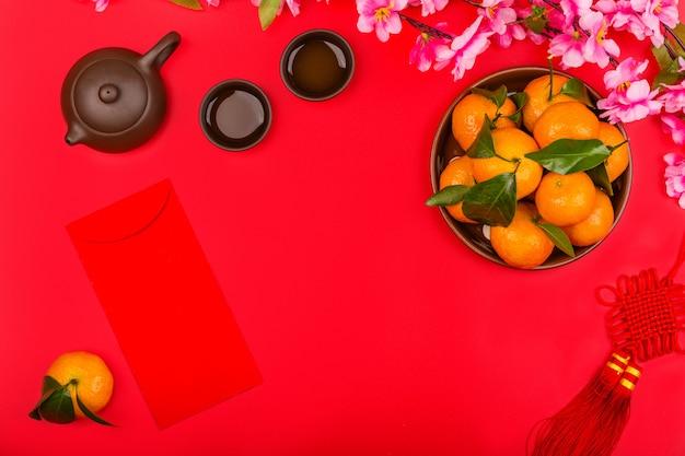 Chinese nieuwjaarachtergrond Premium Foto