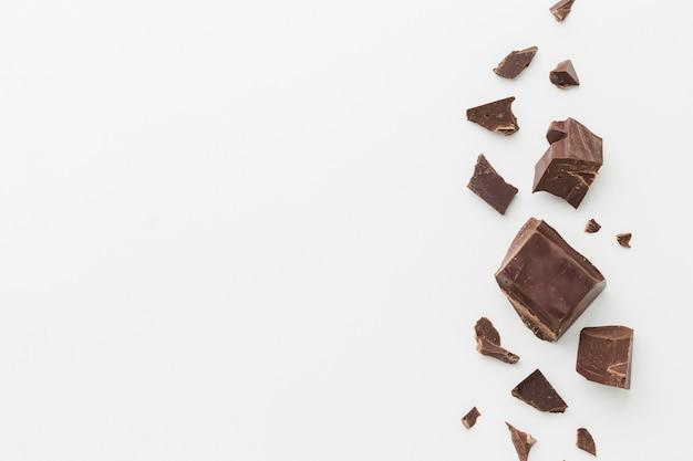 Chocolade arrangement met kopie ruimte Gratis Foto