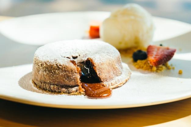 Chocolade brownies lava cake met ijs Gratis Foto
