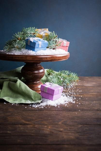 Christmas wenskaart met geschenken Premium Foto