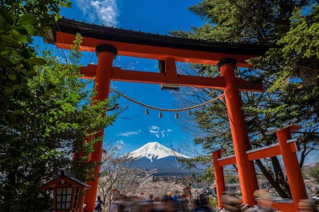 Chureito pagoda en mt. fuji in de de lentetijd met kers komt in fujiyoshida, japan tot bloei. Premium Foto