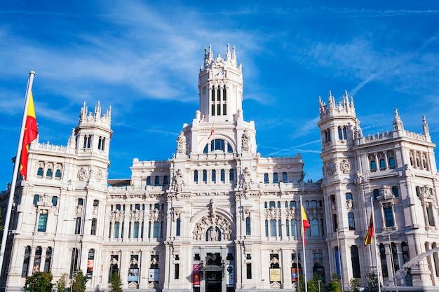 Cibeles palace is het meest prominente gebouw aan de plaza de cibeles in madrid, spanje Gratis Foto