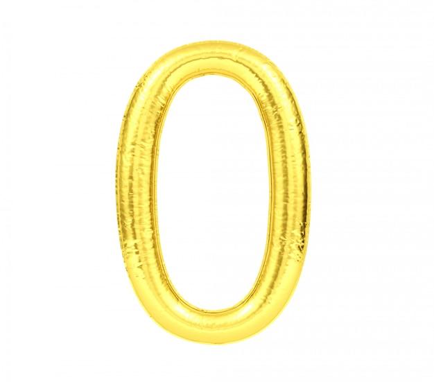 Cijfer 0, gouden die ballonaantal nul op witte achtergrond, het 3d teruggeven wordt geïsoleerd Premium Foto