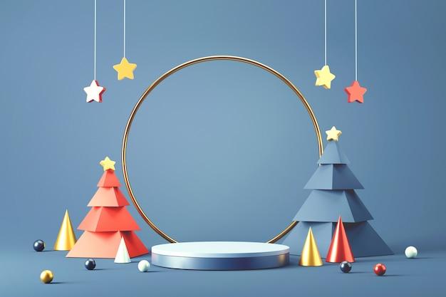 Cilinderpodium voor kerstmis. Premium Foto