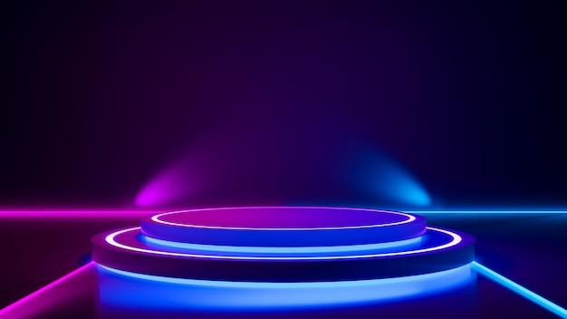 Cirkelfase en purper neonlicht Premium Foto
