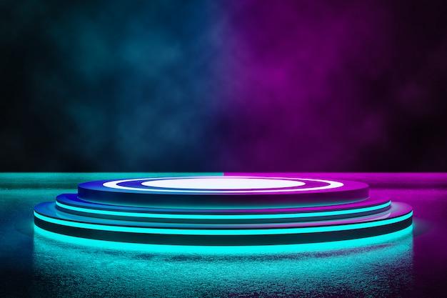 Cirkelfase met rook en neonlicht Premium Foto