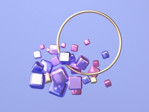 Cirkelframe 3d-rendering roze paars goud geometrische vorm zwevend Premium Foto