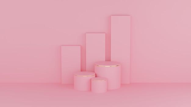 Cirkelpodium roze pastelkleur en gouden rand voor product Premium Foto