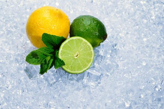 Citroen, limoen en munt op ijs. Premium Foto
