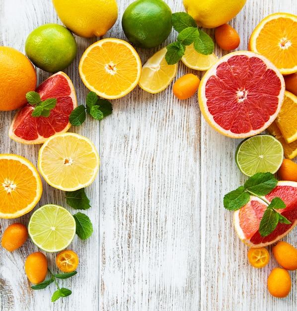 Citrus vers fruit achtergrond Premium Foto