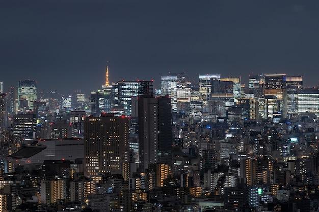 Cityscape van tokyo dat de toren van tokyo in ver weg kan zien, nemend van de hemelboom van tokyo, het oosten, japan Premium Foto