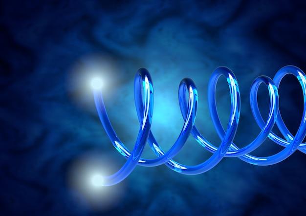 Close-up blauwe glasvezelkabels, uiteinden met heldere lichtstralen Premium Foto
