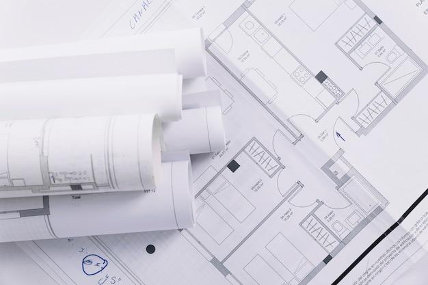 Close-up bouwplannen Gratis Foto