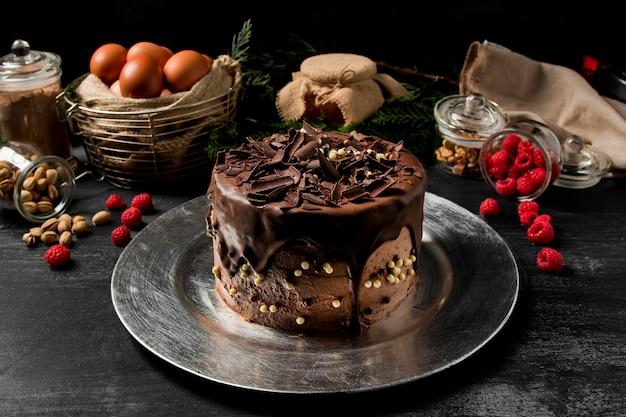 Close-up chocoladetaart Premium Foto