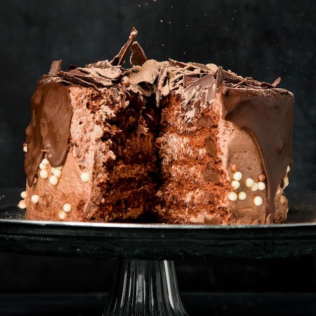 Close-up chocoladetaart Gratis Foto