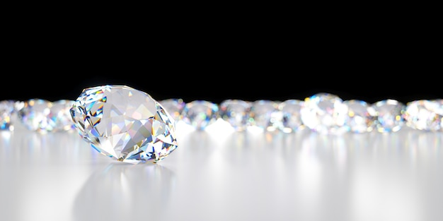 Close-up diamant op de achtergrond van vele achterliggende diamanten, 3d illustratie Premium Foto