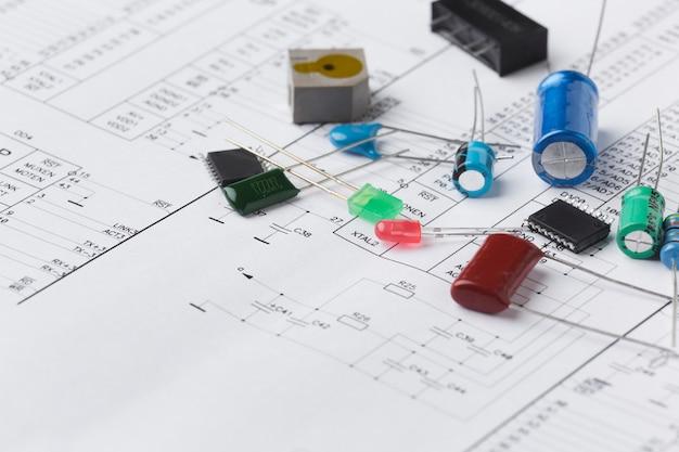 Close-up elektronische componenten Gratis Foto