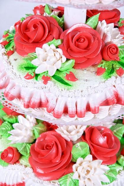 Close-up foto van de rode bruidstaart Premium Foto