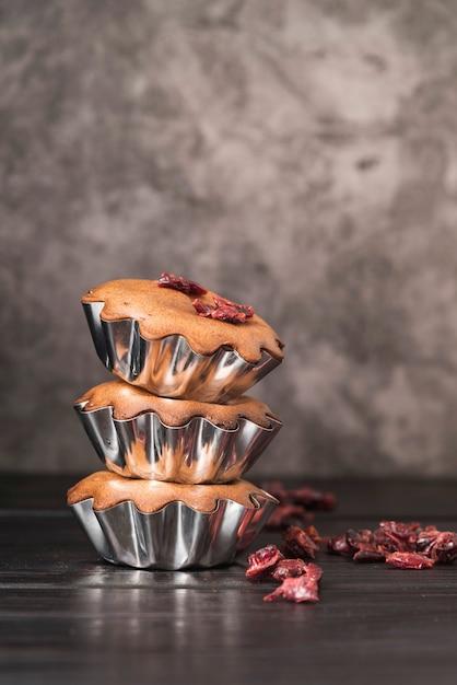 Close-up heerlijke stapel muffins Gratis Foto