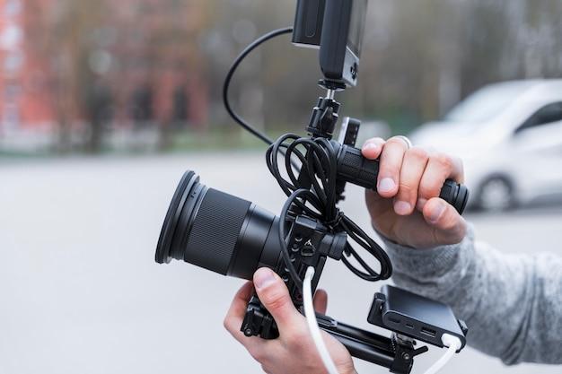 Close-up journalistiek camera Gratis Foto
