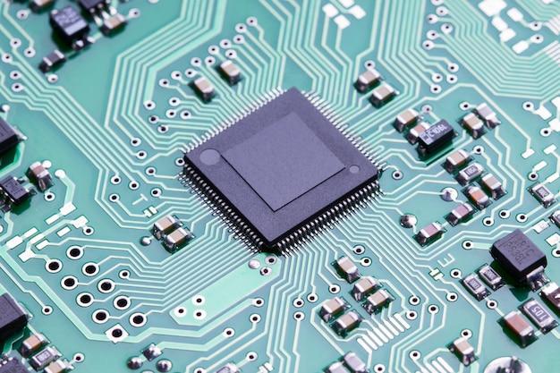 Close-up microchip van een printplaat Premium Foto