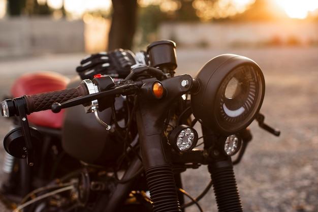 Close-up oude motorfiets in detail Premium Foto
