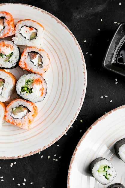 Close-up plaat met sushi Gratis Foto