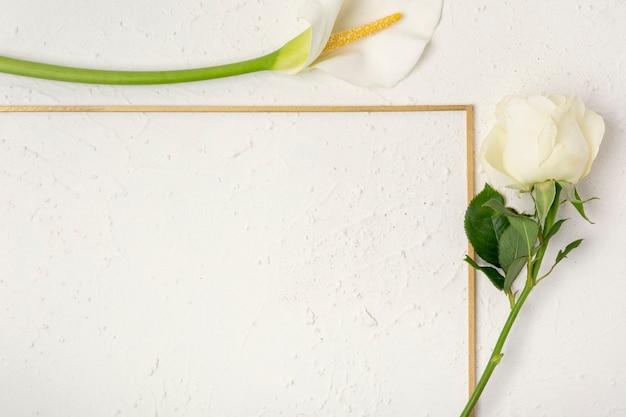 Close-up roos en calla lelie frame Gratis Foto
