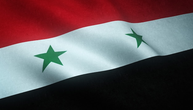 Close-up shot van de wapperende vlag van de verenigde arabische republiek syrië met interessante texturen Gratis Foto