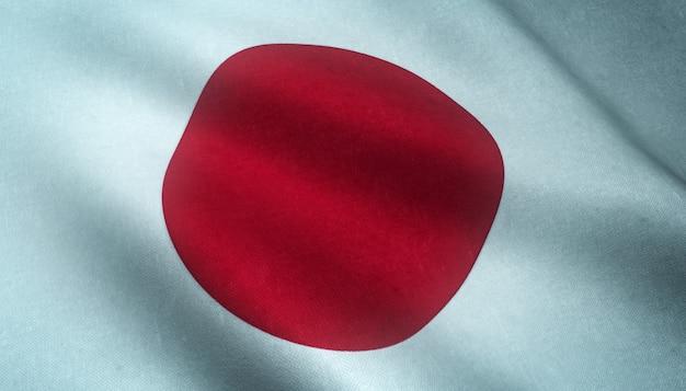 Close-up shot van de wapperende vlag van japan met interessante texturen Gratis Foto