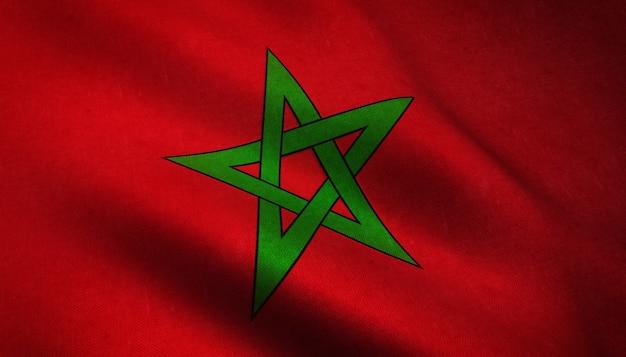 Close-up shot van de wapperende vlag van marokko met interessante texturen Gratis Foto