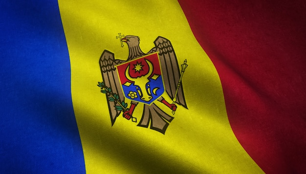Close-up shot van de wapperende vlag van moldavië met interessante texturen Gratis Foto