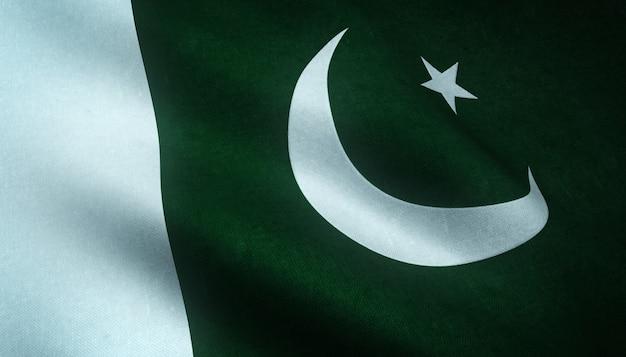 Close-up shot van de wapperende vlag van pakistan met interessante texturen Gratis Foto