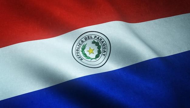 Close-up shot van de wapperende vlag van paraguay met interessante texturen Gratis Foto