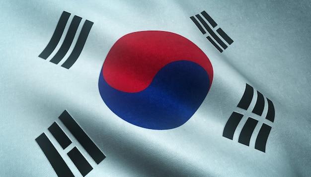 Close-up shot van de wapperende vlag van zuid-korea Gratis Foto