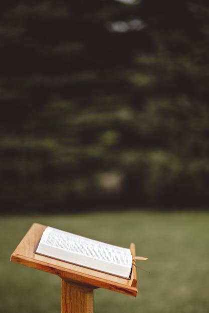 Close-up shot van een houten toespraak staan met een geopend boek Gratis Foto